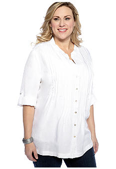 New Directions Plus Size Pin Tuck Linen Tunic