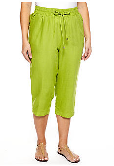 New Directions Plus Size Linen Crop Pant
