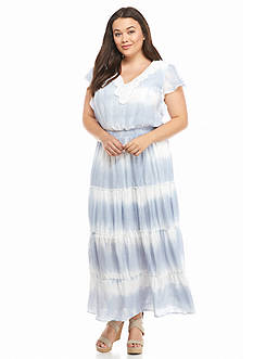 New Directions Plus Size Tie-Dye Tiered Maxi Dress
