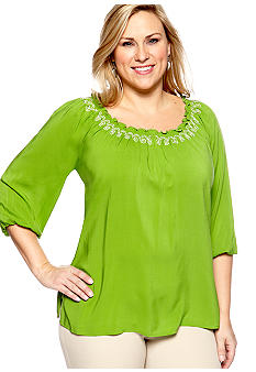 New Directions® Plus Size Embroidered Peasant