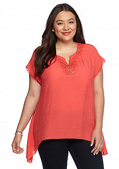 New Directions Plus Size Embellished Split Neck Top