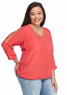 New Directions Plus Size Studded Top