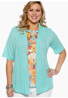 New Directions Plus Size Pointelle Cardigan