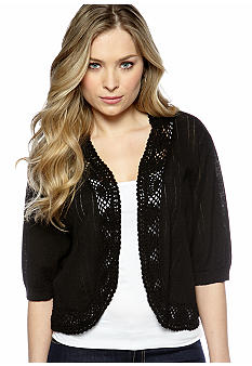 New Directions Plus Size Pointelle Shrug
