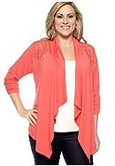 New Directions® Plus Size Lace Back Cardigan