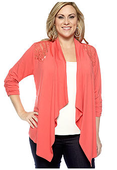 New Directions Plus Size Lace Back Cardigan