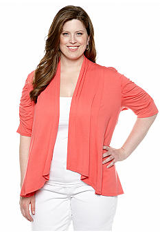 New Directions Plus Size Ruched Sleeve Cardigan
