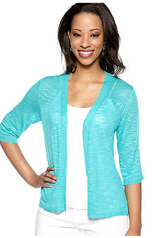Kim Rogers® Slub Rouch Three Quarter Sleeve Cardigan