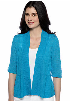 Kim Rogers Elbow Sleeve Open Peplum Cardigan