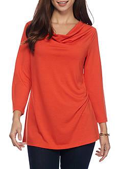 Kim Rogers Three-quarter Sleeve Drape Neck Knit Top