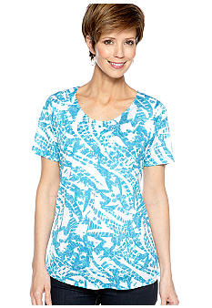 Kim Rogers Planet Blue Burnout Tee with Cami