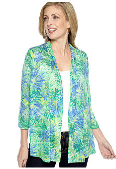 Kim Rogers Three Quarter Sleeve Printed Burnout Cardigan