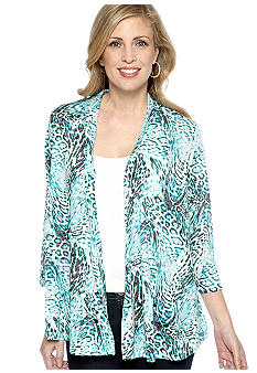 Kim Rogers Three Quarter Sleeve Animal Print Burnout Cardigan