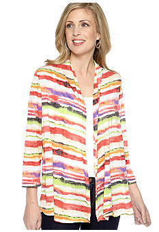 Kim Rogers Three Quarter Sleeve Stripe Burnout Cardigan