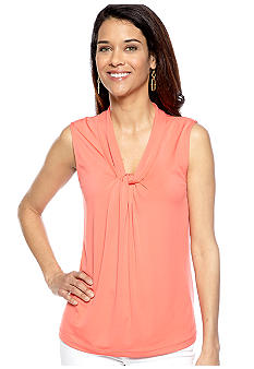Kim Rogers Petite Sleeveless Knot Top