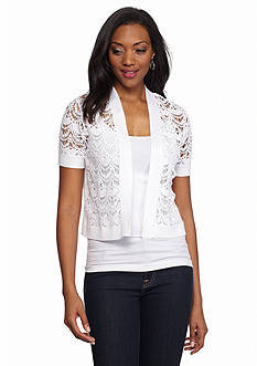 Kim Rogers Short Sleeve Crochet Front Cardigan