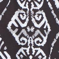 Petite Tops: Knit Tops: Black Combo Kim Rogers Petite Tie Neck Stamp Print Knit Top