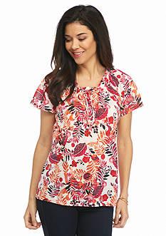 Kim Rogers Petite Tie Neck Aruba Print Knit Top