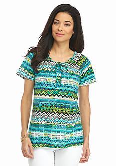Kim Rogers Petite Tie Neck Woodblock Print Knit Top
