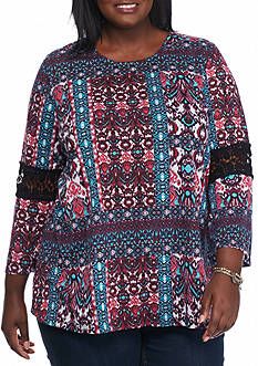Kim Rogers Plus Size Crochet Batik Knit Top