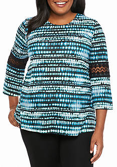 Kim Rogers Plus Size Crochet Inset Knit Top