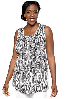 Kim Rogers Plus Size Shirred Front Panel Animal Burnout Tunic