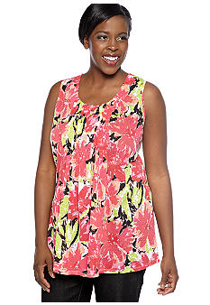 Kim Rogers Plus Size Shirred Front Panel Bouquet Burnout Tunic