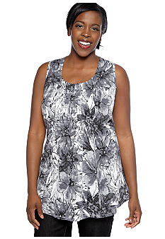 Kim Rogers Plus Size Shirred Front Panel Abstract Floral Burnout Tunic