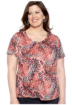Kim Rogers Plus Size Mixed Animal Burnout Knit Top