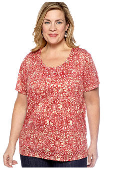 Kim Rogers Plus Size Medallion Burnout Knit Top