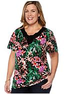 Kim Rogers® Plus Size Crochet Neck Knit Top