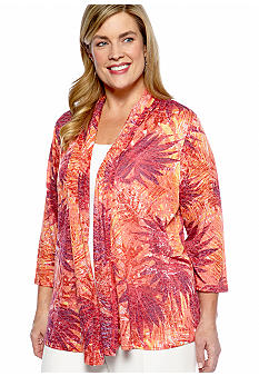 Kim Rogers Plus Size Palm Splash Burnout Cozy