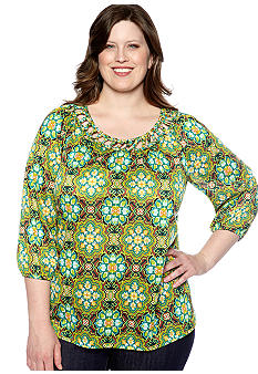 Kim Rogers Plus Size Basket Woven Neck Knit Top