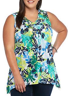 Kim Rogers Plus Size Pucker Floral Print Tank