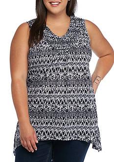 Kim Rogers Plus Size Pucker Bandana Print Tank