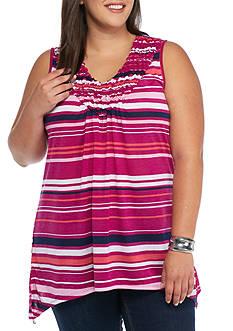 Kim Rogers Plus Size Pucker Stripe Tank