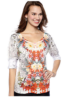 New Directions Elbow Sleeve V-neck Top