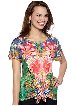 New Directions Extended Sleeve Tie Front Top