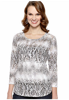 New Directions Animal Print Burnout Top