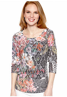 New Directions Dark Floral Burnout Top