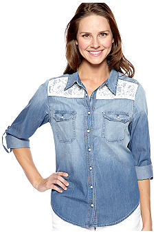New Directions Weekend Lace Front Yoke Jean