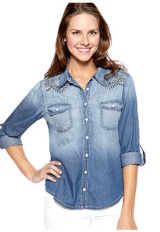 New Directions® Weekend Studded Back and Front Yoke Jean