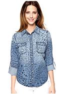 New Directions® Weekend Animal Print Jean Shirt