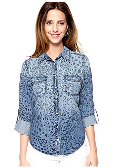 New Directions Weekend Animal Print Jean Shirt