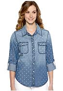 New Directions® Weekend Dot Print Jean Shirt