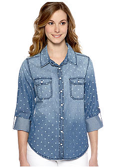 New Directions Weekend Dot Print Jean Shirt