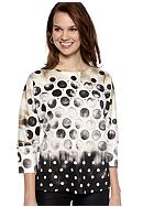 New Directions® Elbow Sleeve Dot Print Scoop Neck
