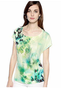 New Directions Peacock Printed Embellished Top