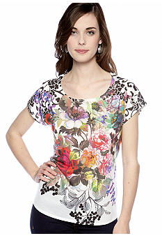 New Directions Friendly Floral Printed Embellished Top