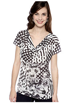 New Directions Dot, Stripe, and Floral Printed Top